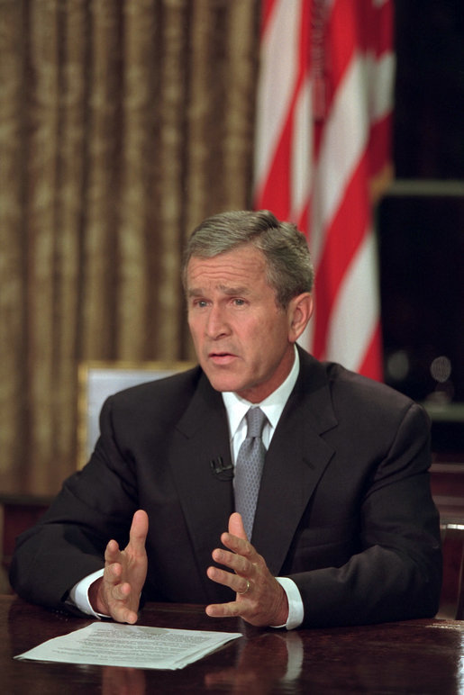 President Bush addresses the nation from the Oval Office on 9/11