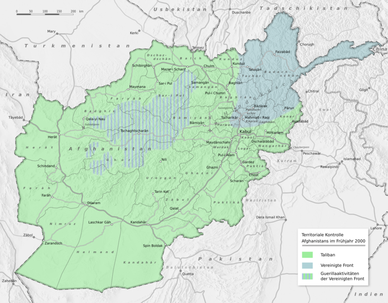 Map of territorial control of Afghanistan in early 2000
