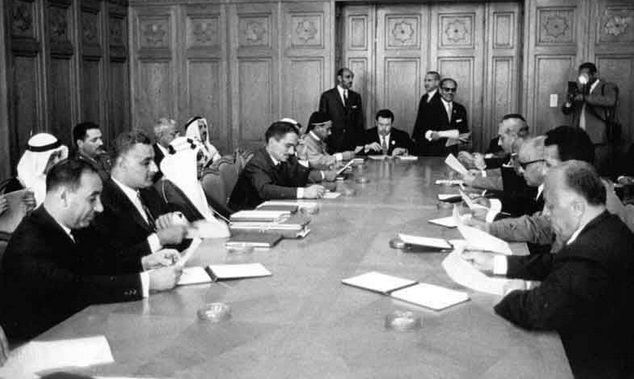 Arab heads of state in a meeting during the 1964 Arab League Summit in Cairo