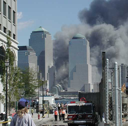 View of the Twin Towers from Jersey City on 9/11