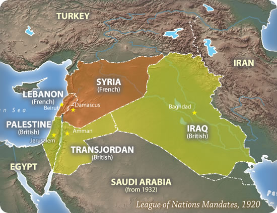 "Map of ""mandates"" set up in the Middle East after WWI"