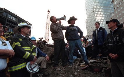 President Bush speaking at Ground Zero, 14 September 2001 time