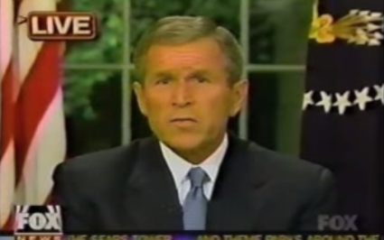 President Bush addresses the nation on television on the evening of 9/11 time