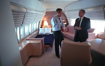 President Bush with White House Chief of Staff Andrew on Air Force One on 9/11 time