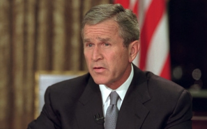President Bush addresses the nation from the Oval Office on 9/11 time