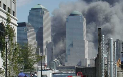View of the Twin Towers from Jersey City on 9/11 time