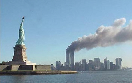 Trails of smoke in the sky next to the Statue of Liberty on 9/11 time